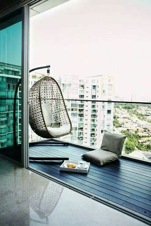 Balcony With Hanging Chair Apartment Balcony Decorating Balcony