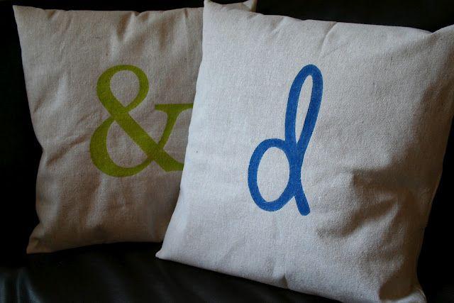 freezer paper stenciled pillows