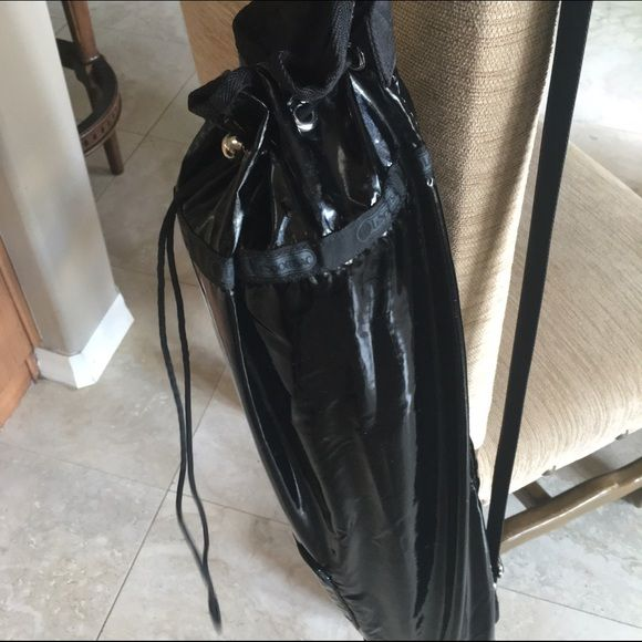 Lesportsac Yoga Bag Black Patent Leather Look Mat Gently Used Fits All Sizes Easy Carry Adjule Shoulder Strap