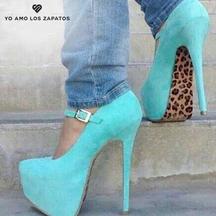 Zapatos Tacon Turquesa