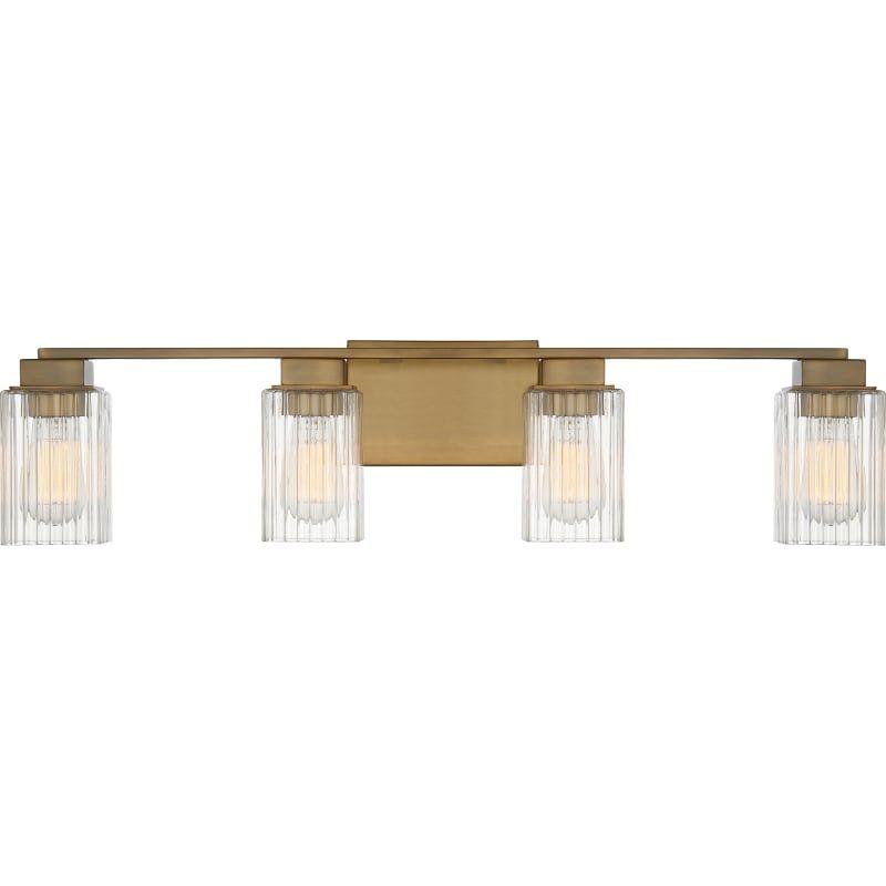 """Photo of Quoizel DAN8632 Danson 4 Light 32 """"Wide Bathroom Vanity Light Weathered Brass Indoor Lighting Bathroom Fixtures Vanity Light"""