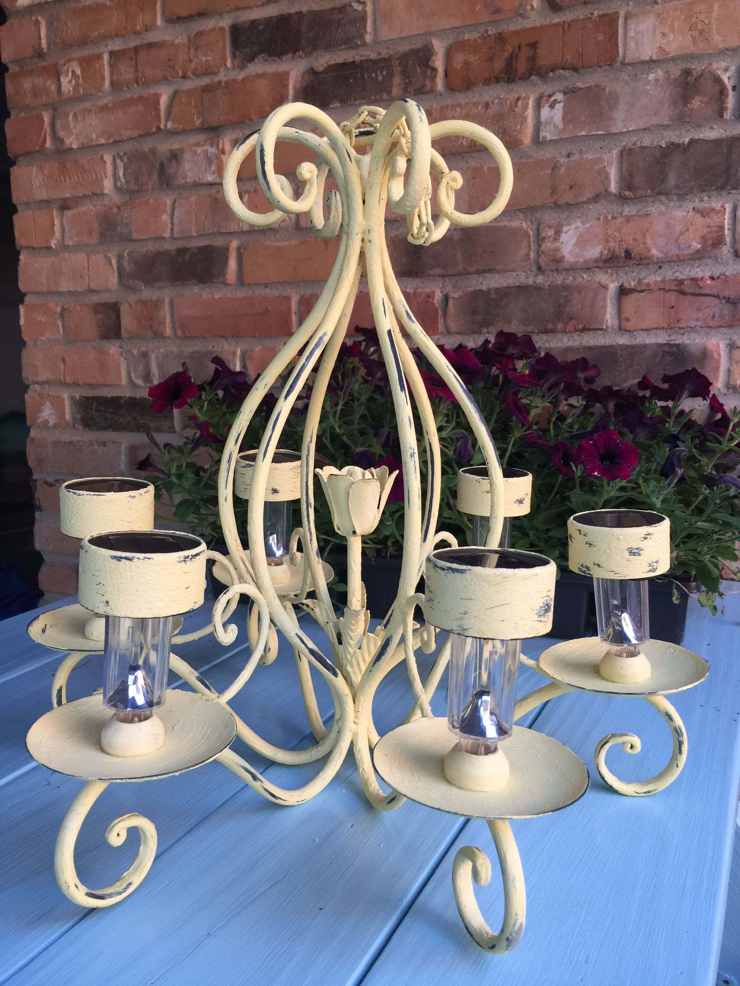 Outdoor Chandelier For Patio Used Chalk Paint And Solar Lights Outdoor Chandelier Solar Lights Solar Powered Lights
