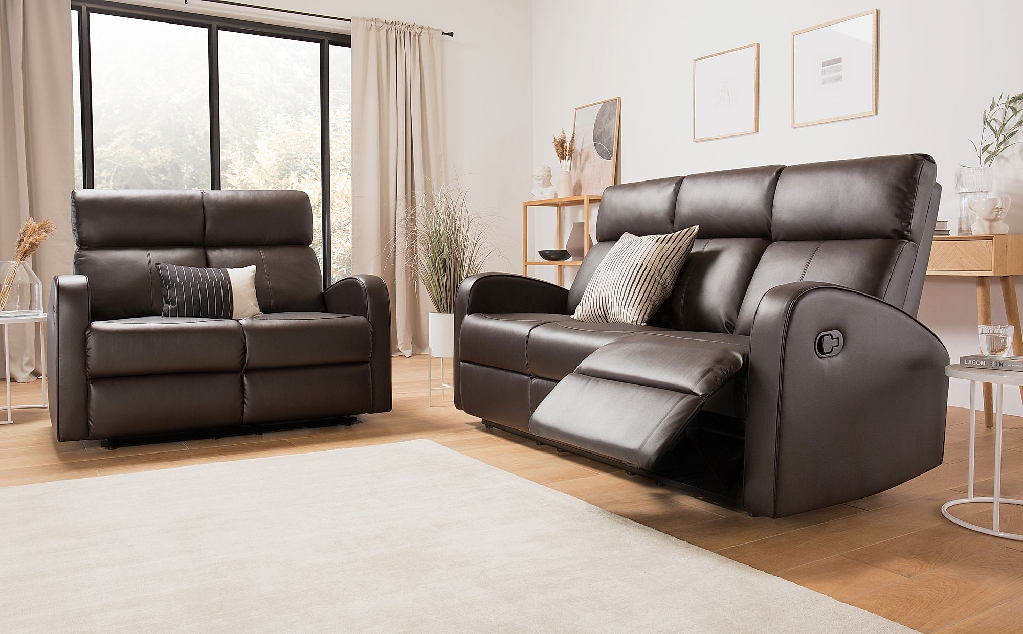 Ashby Brown Leather 3 2 Seater Recliner