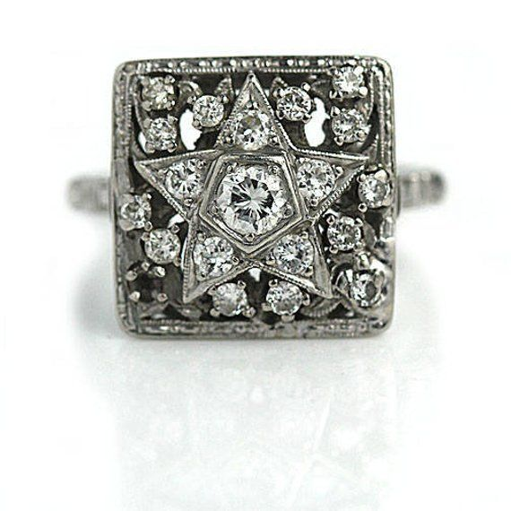 Antique Order Of The Eastern Star Masonic Ring in Platinum