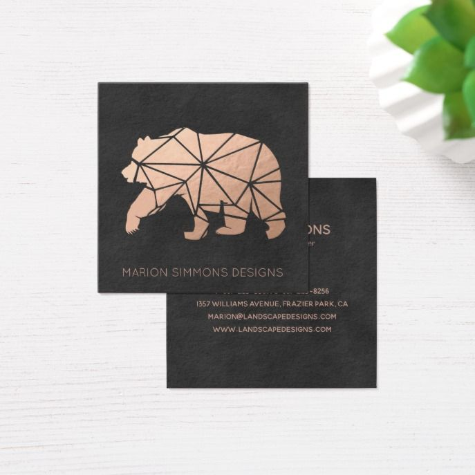 Rose Gold Foil Geo Bear Square Business Square Business