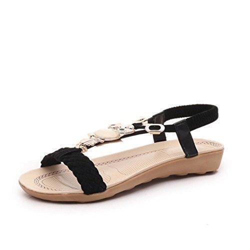 Tefamore Mujer zapatos planos vendaje Bohemia ocio sandalias de señora Peep-Toe zapatos al aire libre (EU:38, Negro)