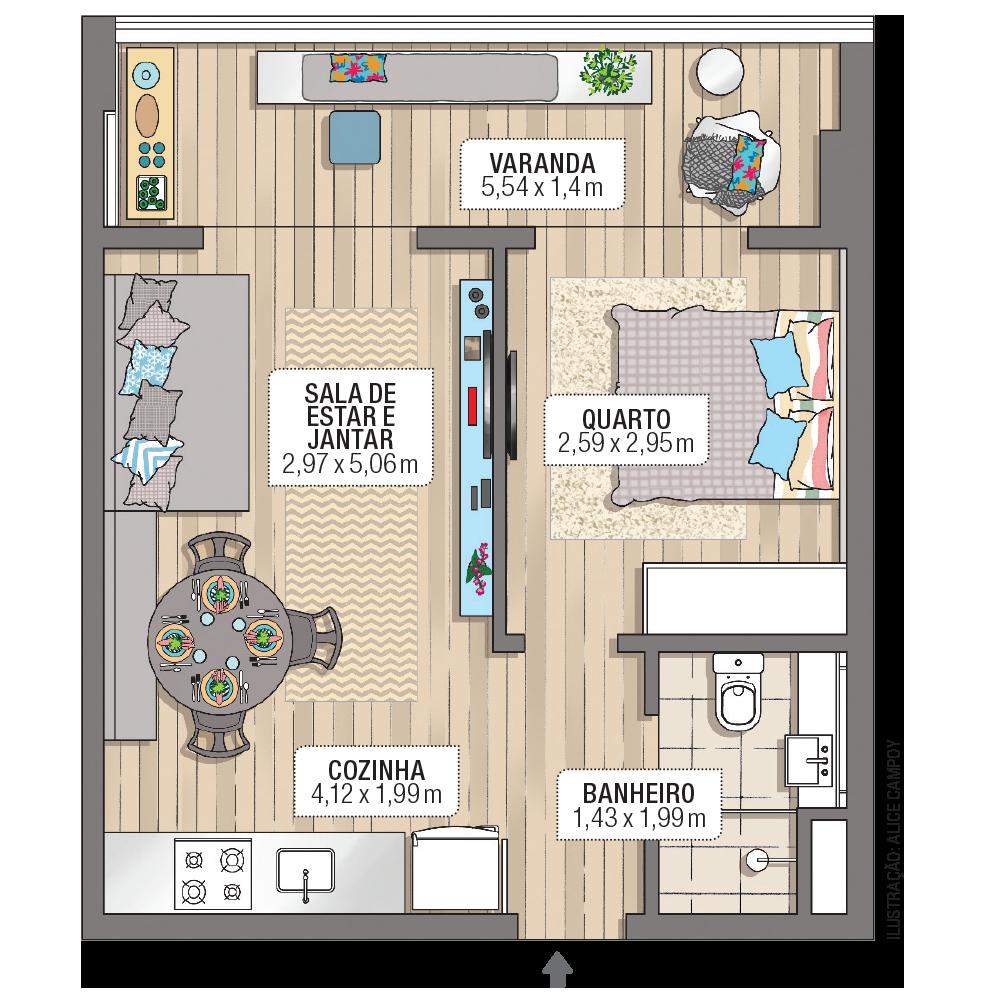 Decoração de apartamento pequeno: 40 m² muito bem ...