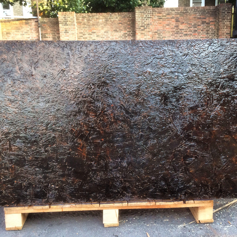 Osb Finished Floor: Burnt And Varnished OSB Board (oriented Strand Board