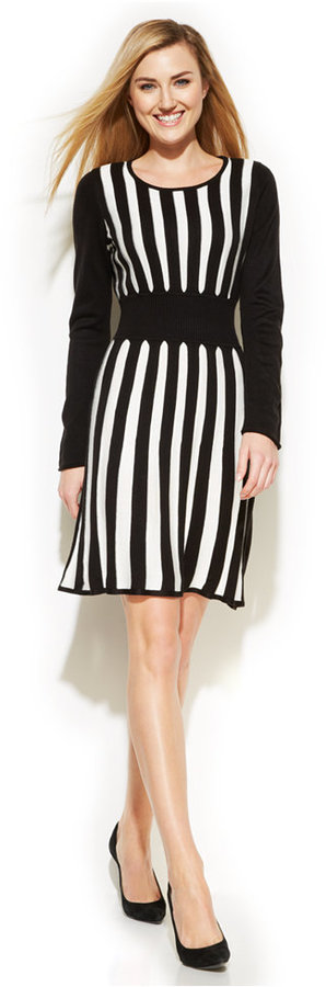 36465b1abf4 Calvin Klein Striped Sweater Dress - dress for pear body shape