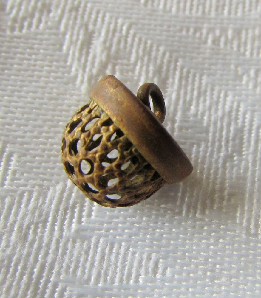 "Antique Metal  Cricket Cage Style Acorn/Dome Button ~ Diminutive 3/8"""