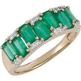 14kt yellow gold Emerald and Diamond ring.