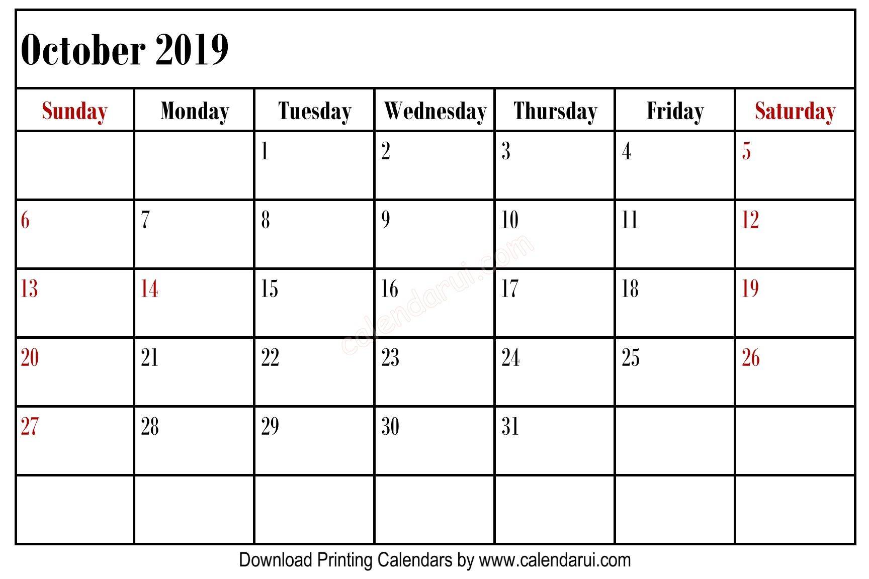 Simple Blank October 2019 Calendar Printable Best Free Calendar