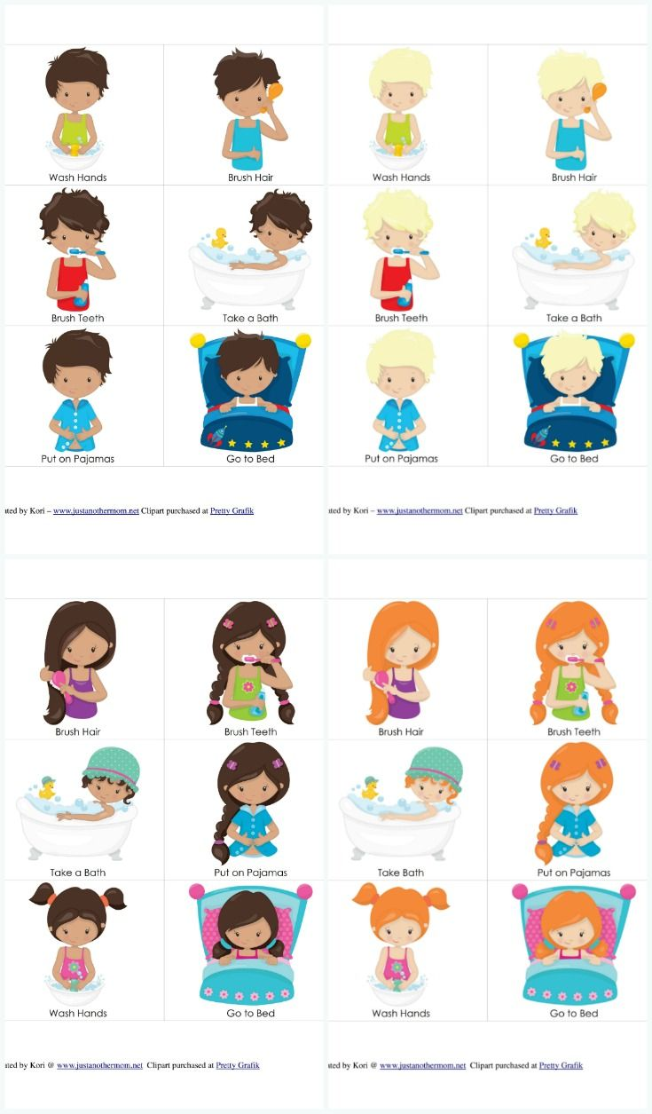 Personal Hygiene and Bedtime Routine Chart and Cards for Girls and Boys #routine