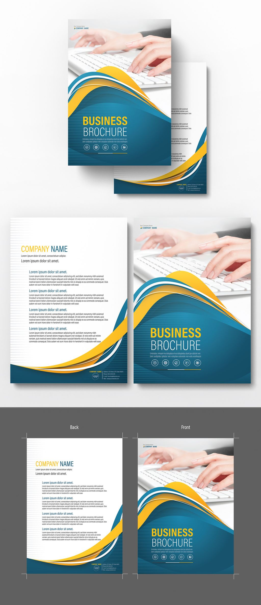 Brochure Cover Layout With Blue And Yellow Accents 5 Image Adobe