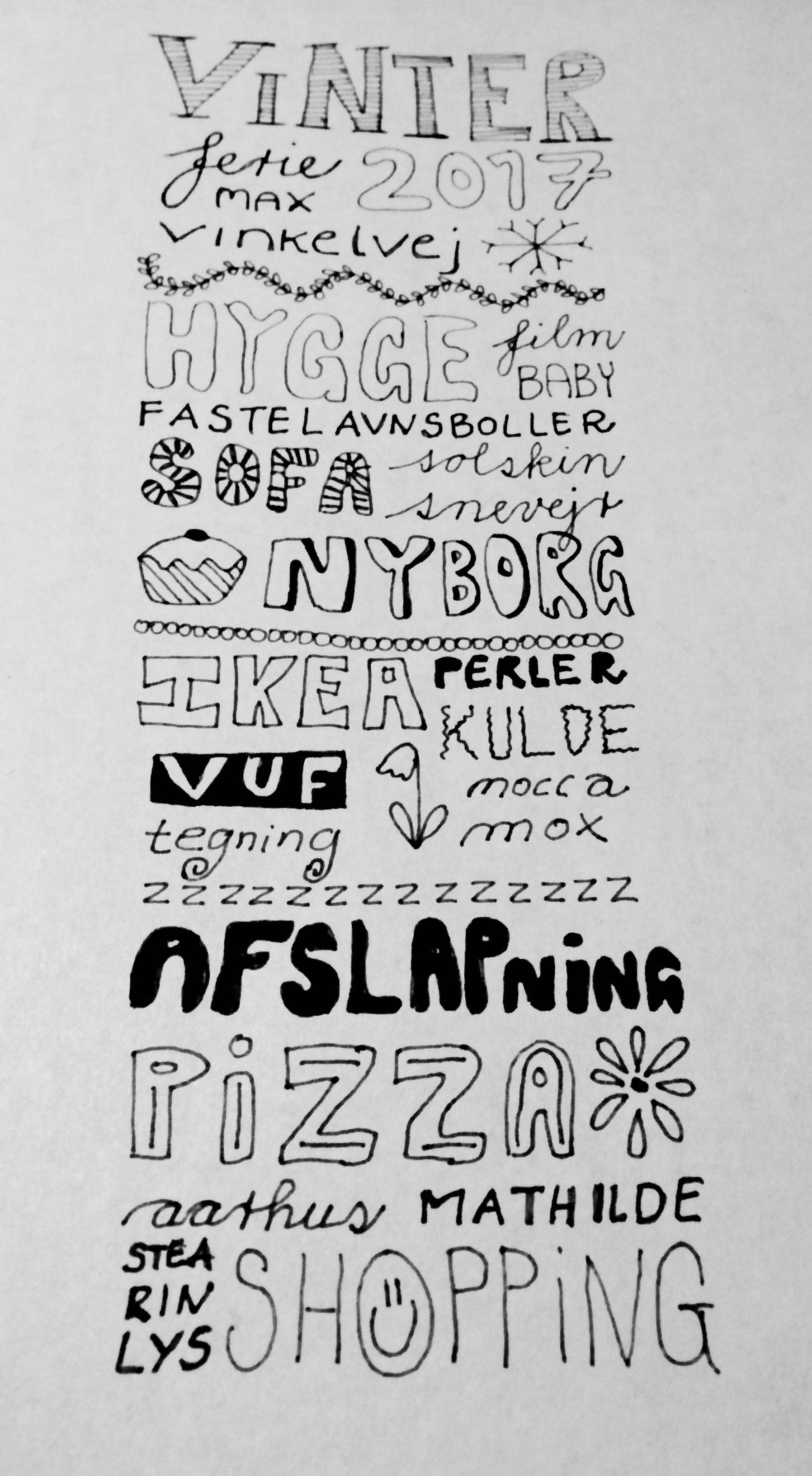 Doodle din ferie, din ønskeseddel eller dine barndomsminder. Find en god blyant eller en tynd tusch og et stykke papir - det er garanteret afslappende og du kan gå til og fra projektet som du vil. God fornøjelse. #doodle