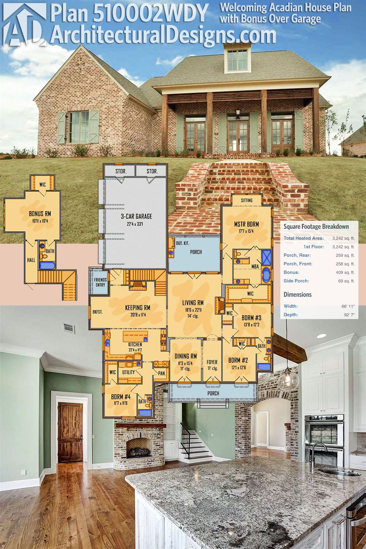 Architectural Designs Acadian House Plan 510002WDY has