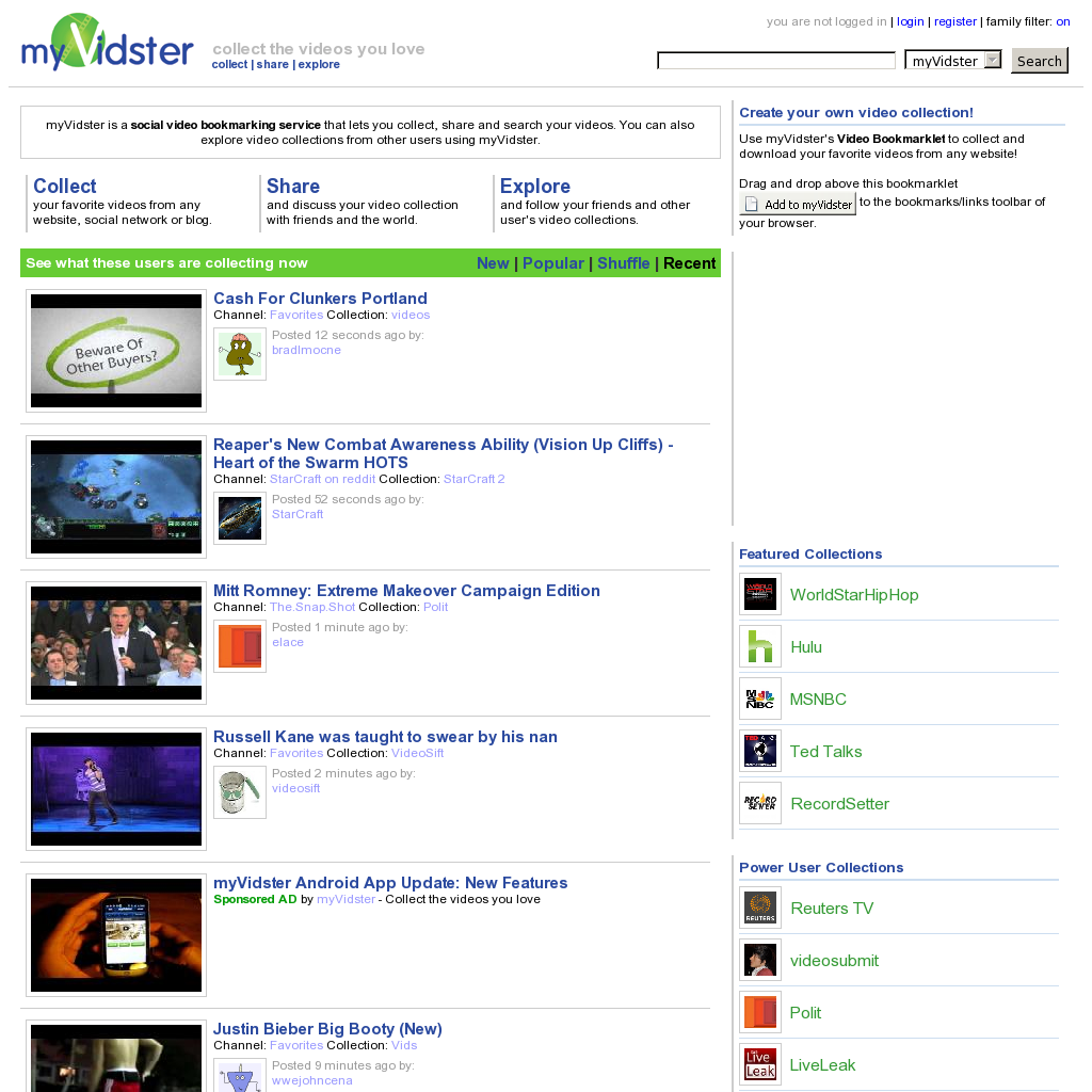 Myvidster Is A Social Video Bookmarking Service That Lets You Collect Share And Search Your Videos You Can Also Explore Video Collections From Other Users
