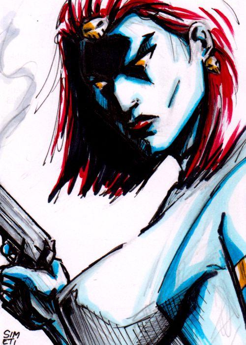 Mystique - 15 minute sketch card by PeterSimeti@deviantART