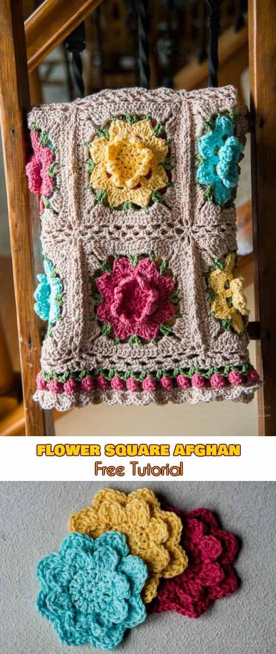 Flower Square Afghan [Crochet Pattern] | cubrecamas | Pinterest ...