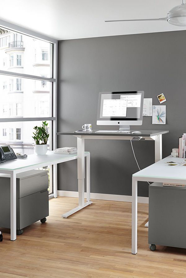 Made By Humanscale This Height Adjustable Modern Desk Lets You Easily Alternate Between Sitti Cheap Office Furniture Home Office Layouts Standing Desk Office