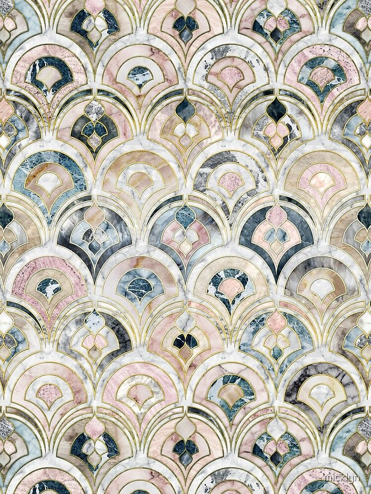 'Art Deco Marble Tiles in Soft Pastels' Poster by micklyn
