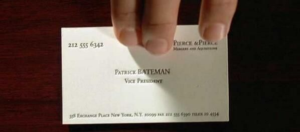 Film Font Via Scott Doorley Weston THAT Business Card Scene From American Psycho