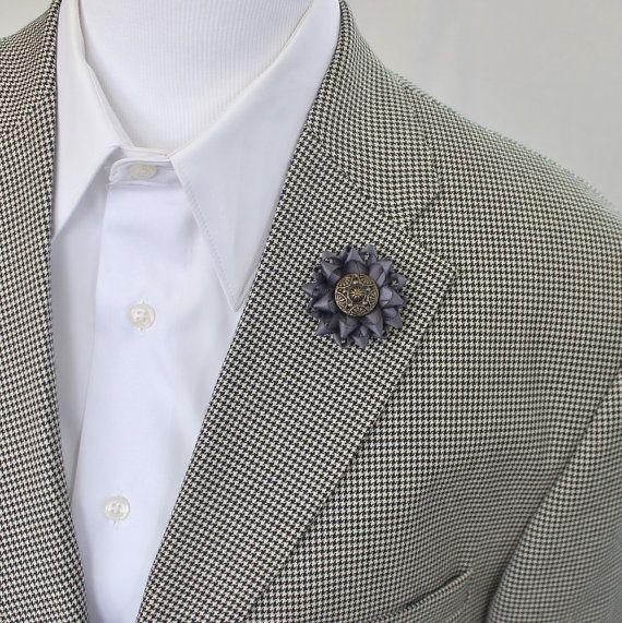Charcoal Gray Lapel Flower for Men, Mens Flower, Mens Lapel Flower, Flower Boutonniere, Men's Lapel Flowers, Dark Gray Flower, Boutonnieres