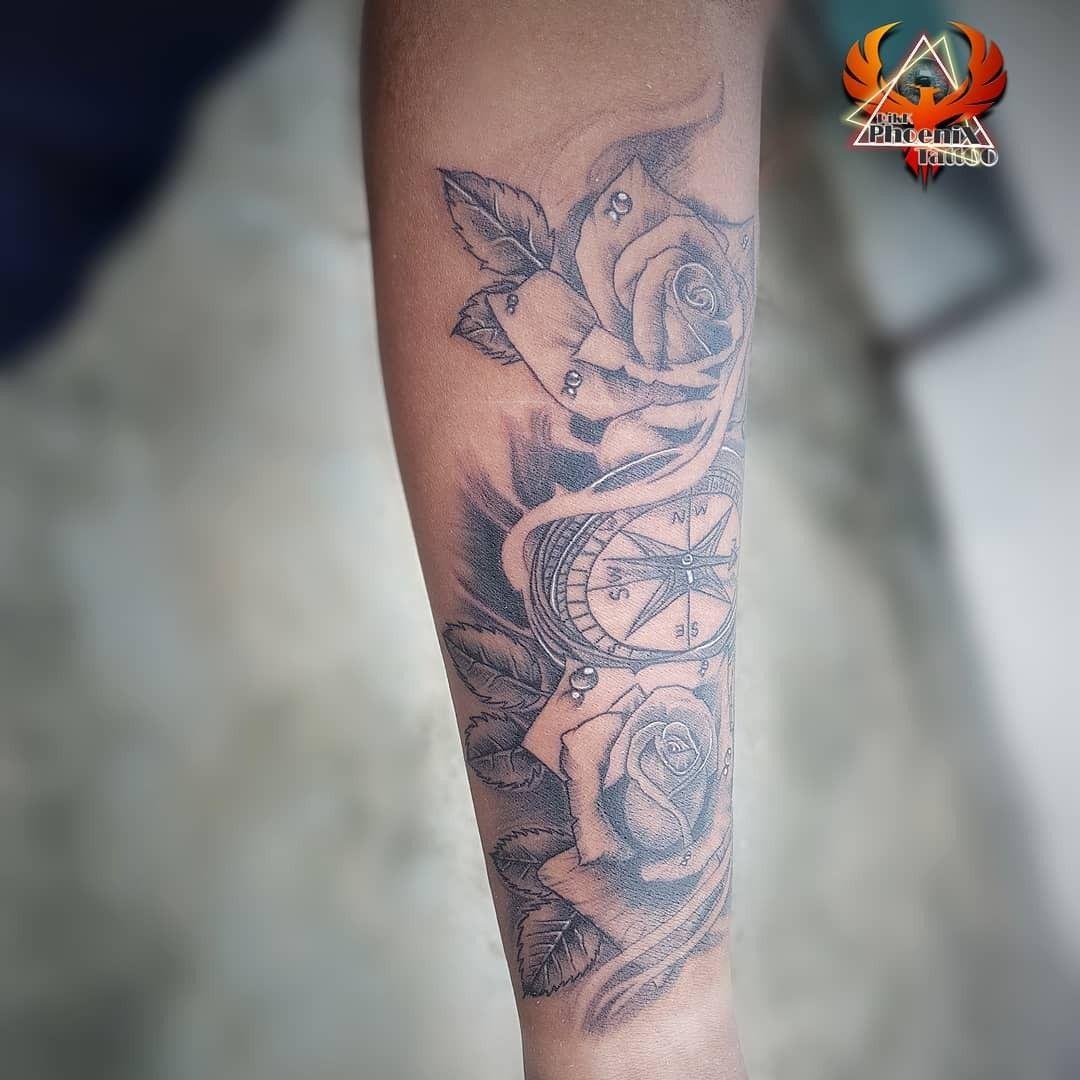 #rose #compass #3d #tattoo #design #rosetattoo #compasstattoo #forearmtattoo #handtattoo #fullsleeve