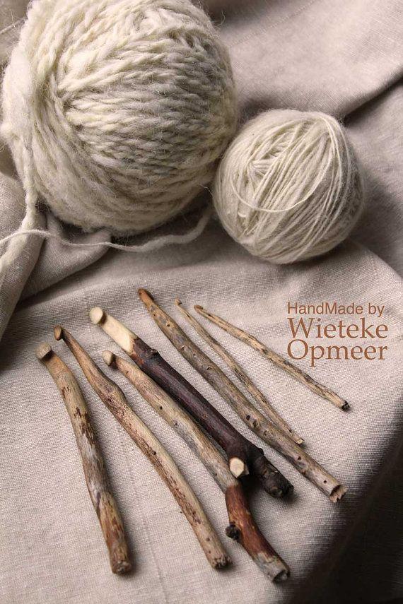 Handgemachte nachhaltige Holz häkeln Nadeln von wietekeopmeer, €11.00 #crochethooks