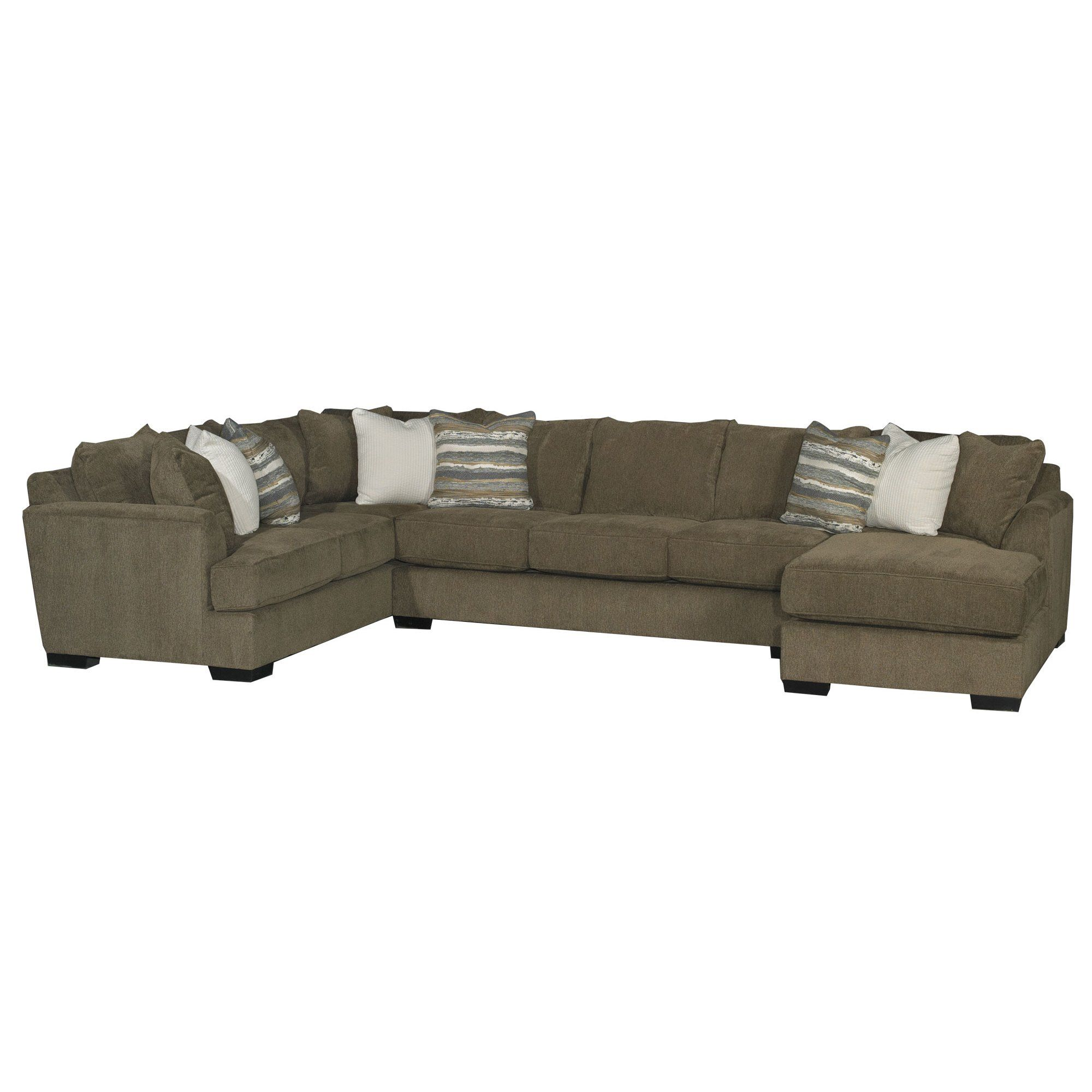 Chocolate Brown 3 Piece Sectional Sofa With Raf Chaise
