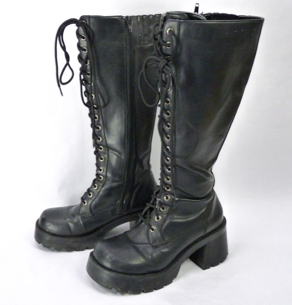 05dce50102e BONGO Chunky Heel Lace Up Boots Womens Size 7 Emo Goth 17