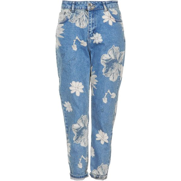 TOPSHOP MOTO Floral Print Mom Jeans (215 BRL) ❤ liked on Polyvore featuring jeans, pants, bottoms, trousers, mid stone, floral print jeans, floral skinny jeans, high-waisted jeans, tapered leg jeans and topshop