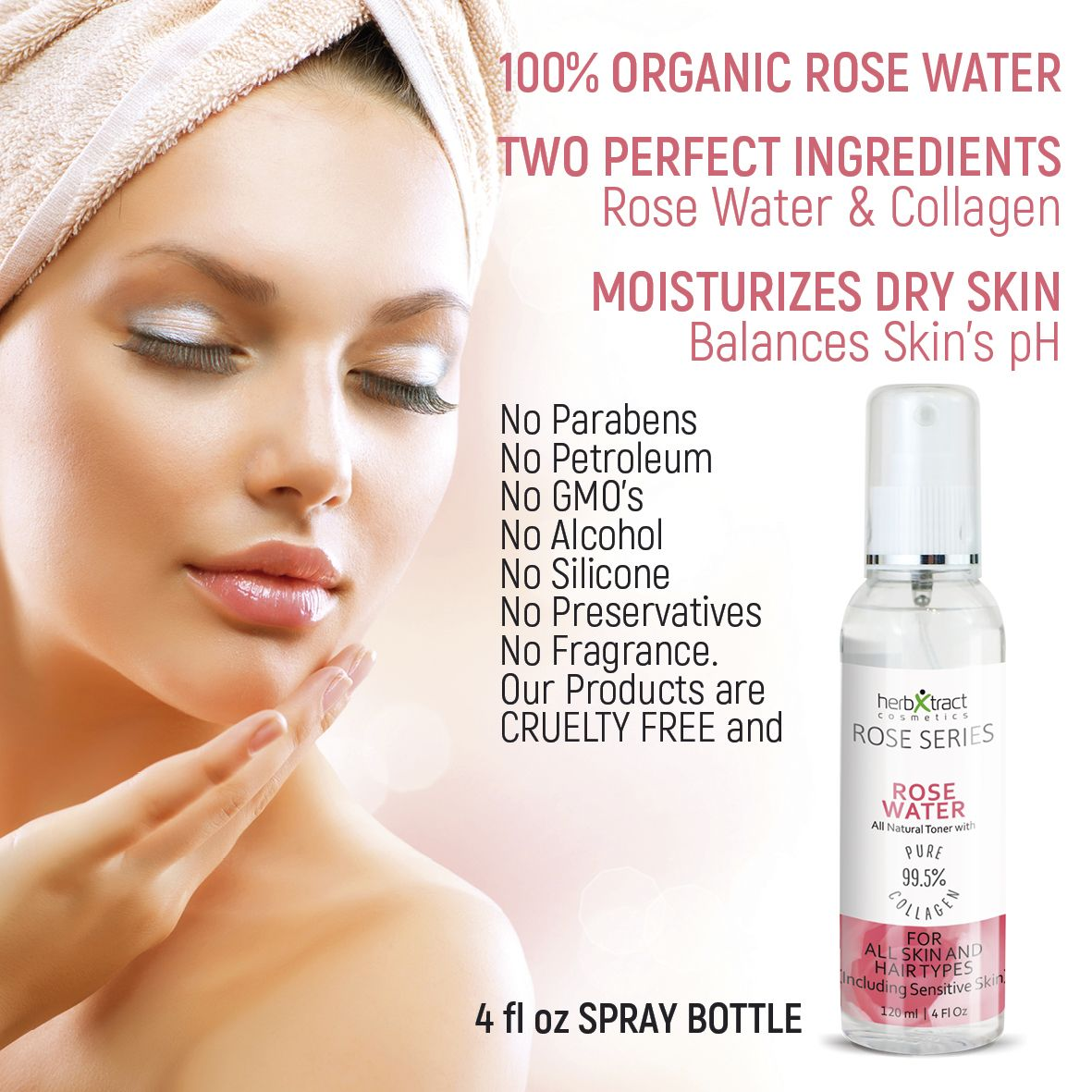 ORGANIC ROSE WATER  Best Toning for Face Neck Decolletage