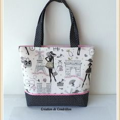 sac cabas tissu en coton la parisienne couture fait main tutoriel sac trousse pochette. Black Bedroom Furniture Sets. Home Design Ideas