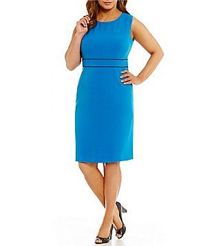 Kasper Plus Stretch Crepe Sleeveless Fitted Dress Plus Size