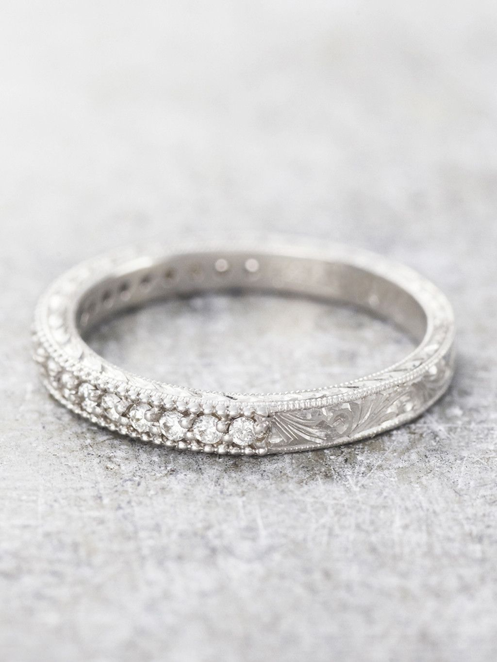 Hand Engraved Diamond Milgrain Band Antique Wedding