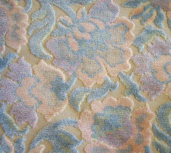 Antique Upholstery Fabric Vintage Pastel Cut Velvet Upholstery