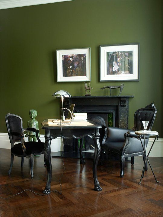 Loving Black Chairs Olive Green Walls Decor Kitchen Dark