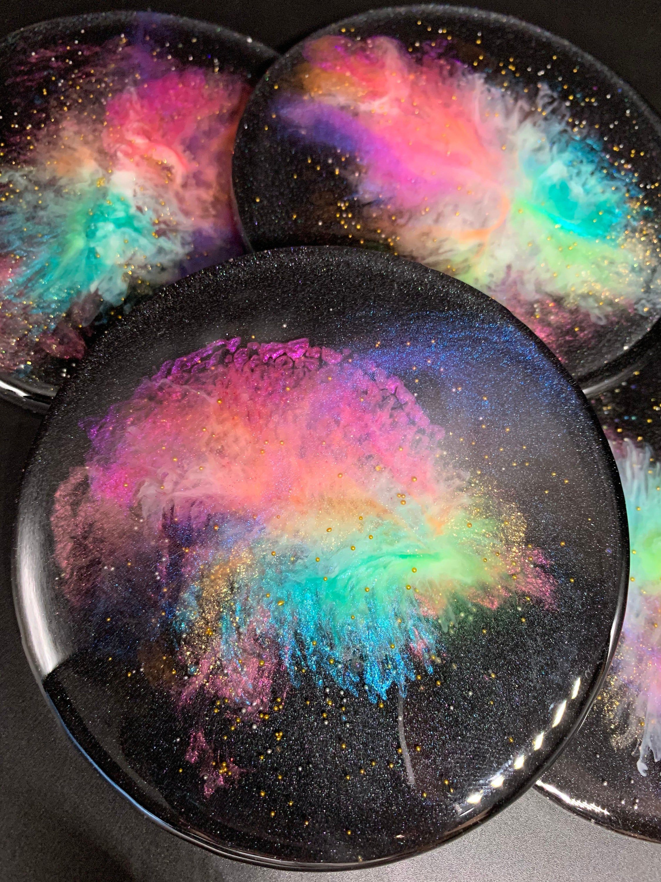 Photo of Galaxy inspired 3 dimensional Art resin coasters, set of 4