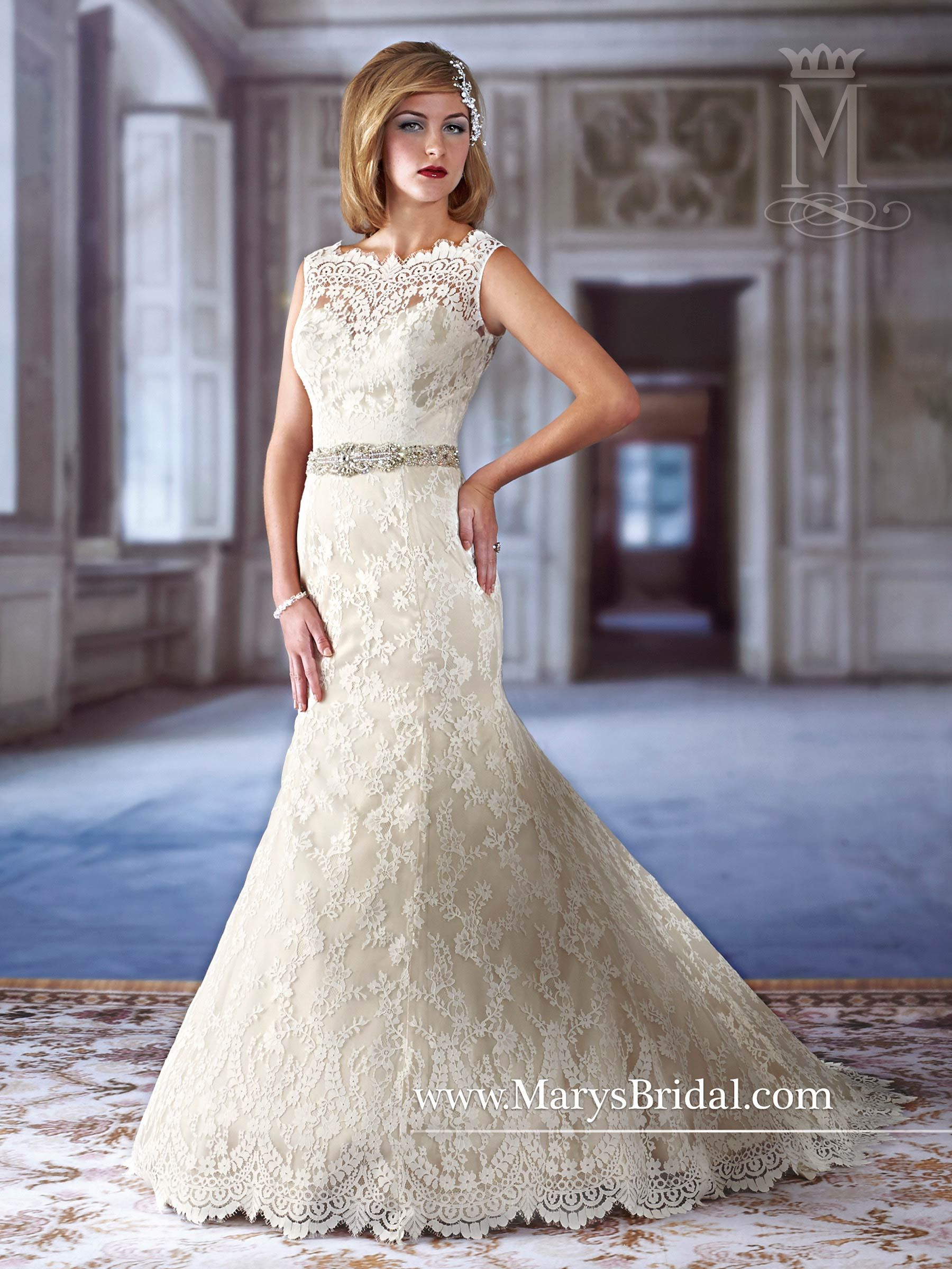 Wedding dress without train  Schiffli lace mermaid bridal gown with illusion jewel neckline and