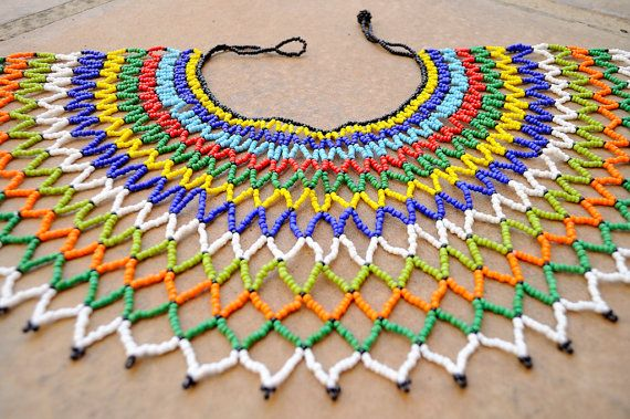 Beaded collar necklacetraditional Zulu by akwaabaAfrica on Etsy