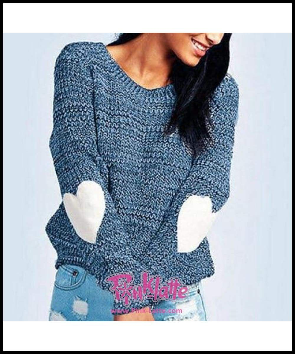6dacb7e02326f0 Women Sweater Pullover Basic Rib Knitted Jumper All Match Loose Casual  Female Solid Gray Long Sleeve Autumn Winter Heart Shaped