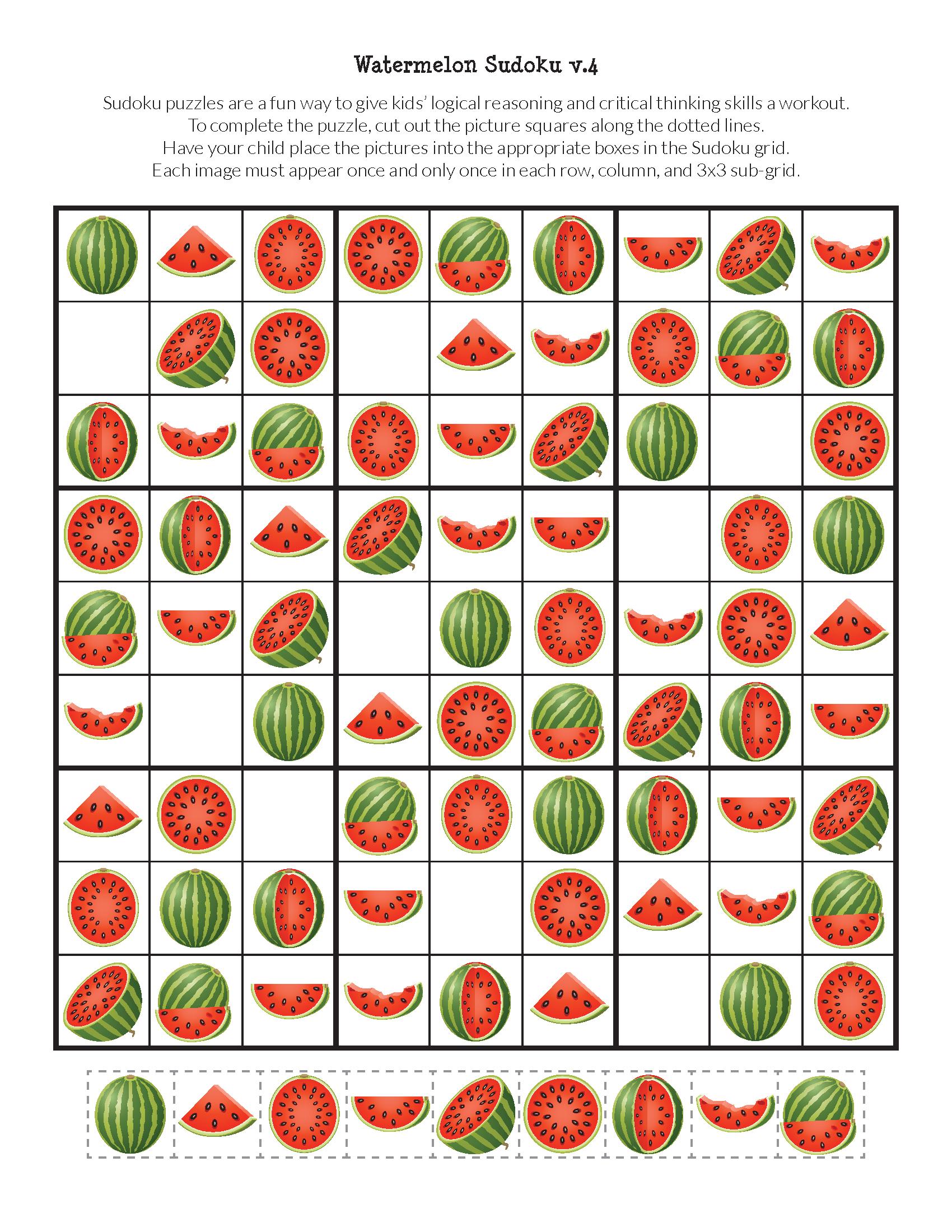 Watermelon Sudoku Puzzles Free Printables