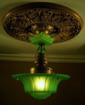 SUPER RARE VASELINE GLASS/ 30'S ART DECO CEILING LIGHT FIXTURE CHANDELIER | #400808847