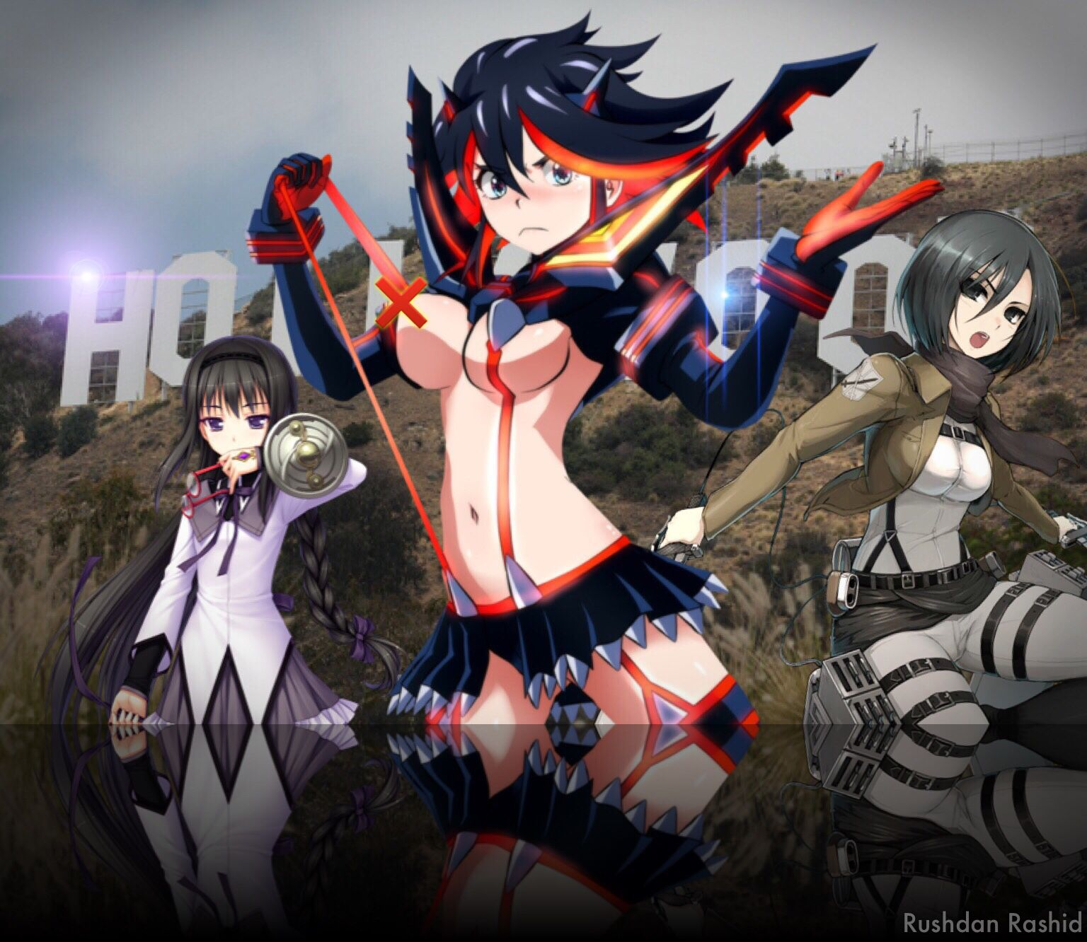 Anime famous characters showdown in hollywood from left akemi homura of puella magi madoka