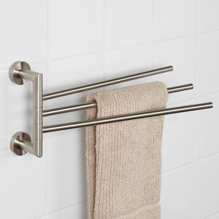 Bristow Triple Swing Arm Swivel Towel Bar In Brushed Nickel 50