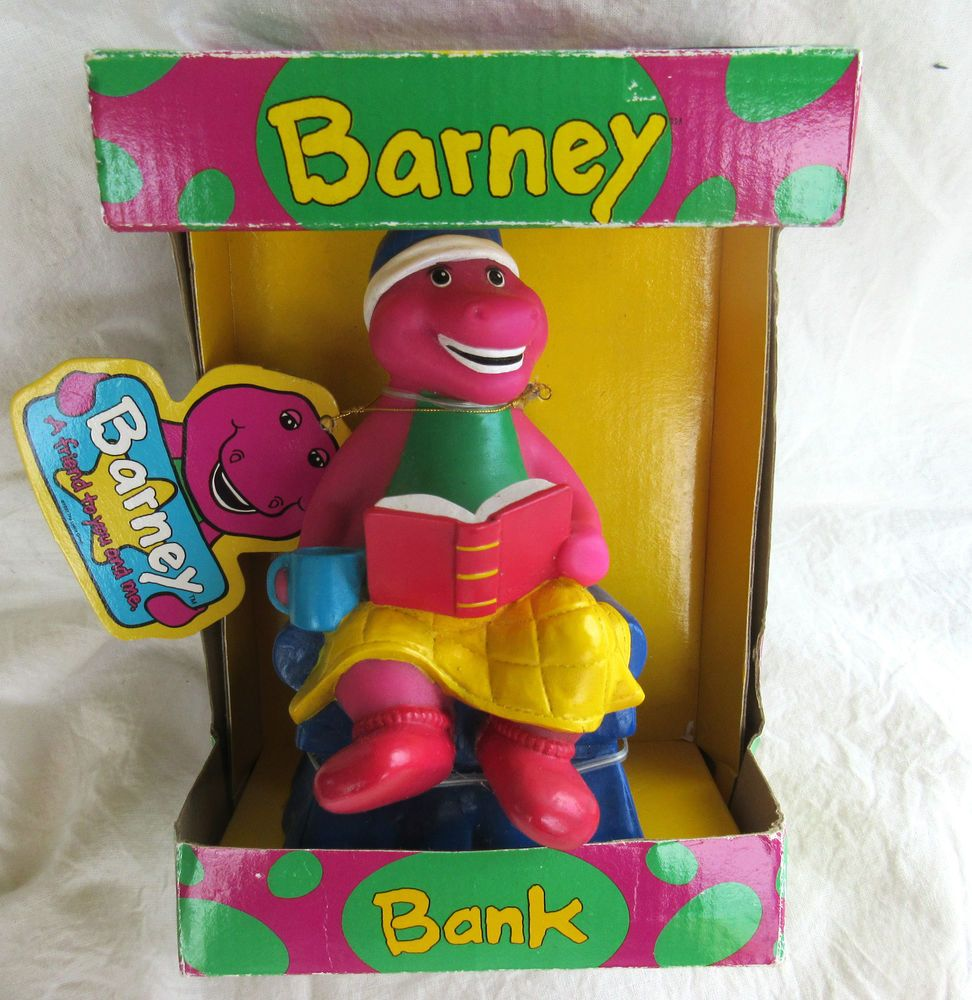 1992 barney the purple dinosaur storytime savings bank in unopened
