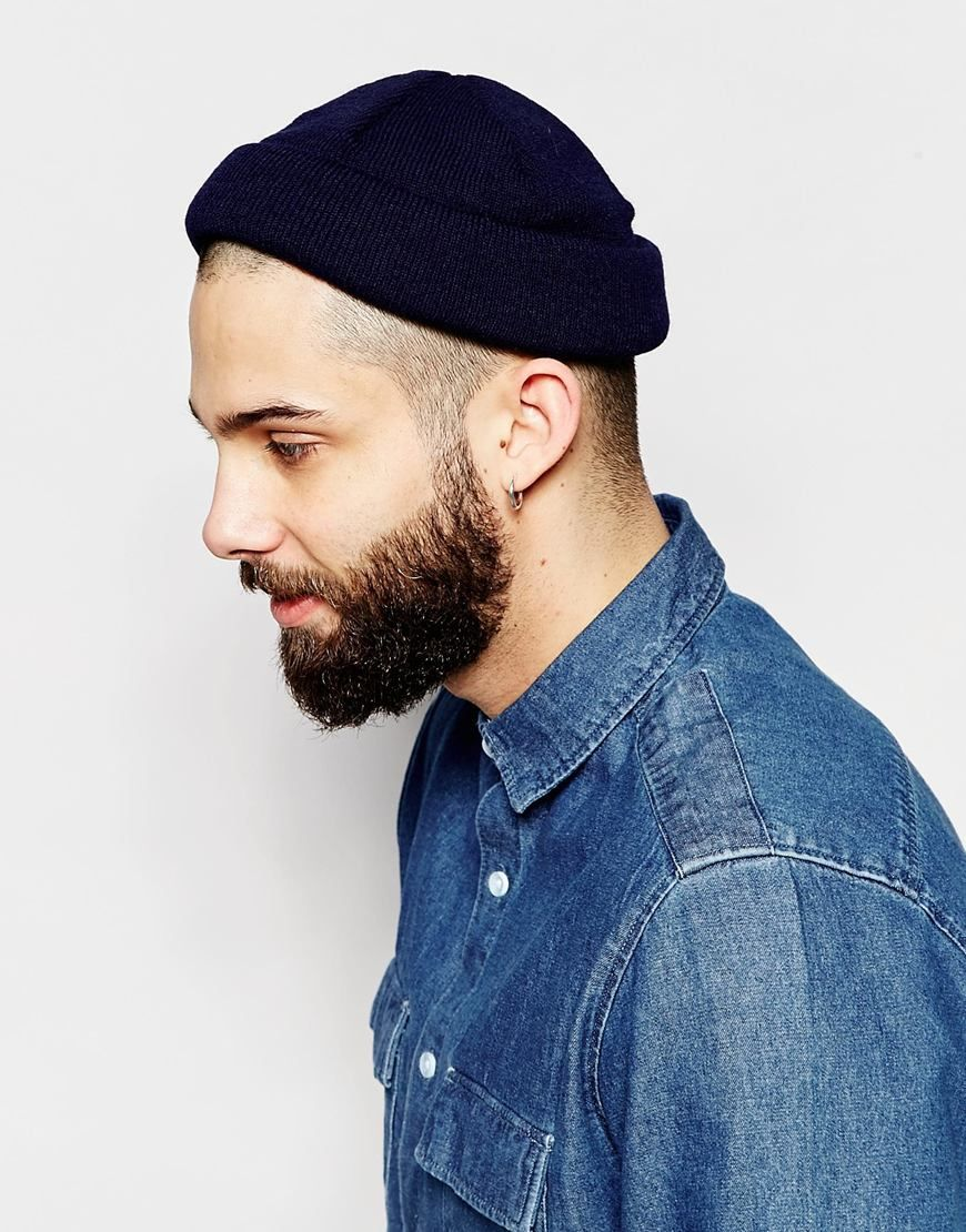 ed6e44019d0 Image 3 of ASOS Mini Fisherman Beanie In Navy