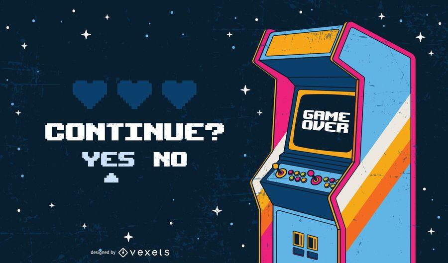 Game Over Arcade Illustration Arcade Illustration Retro Games Poster Game Poster Design
