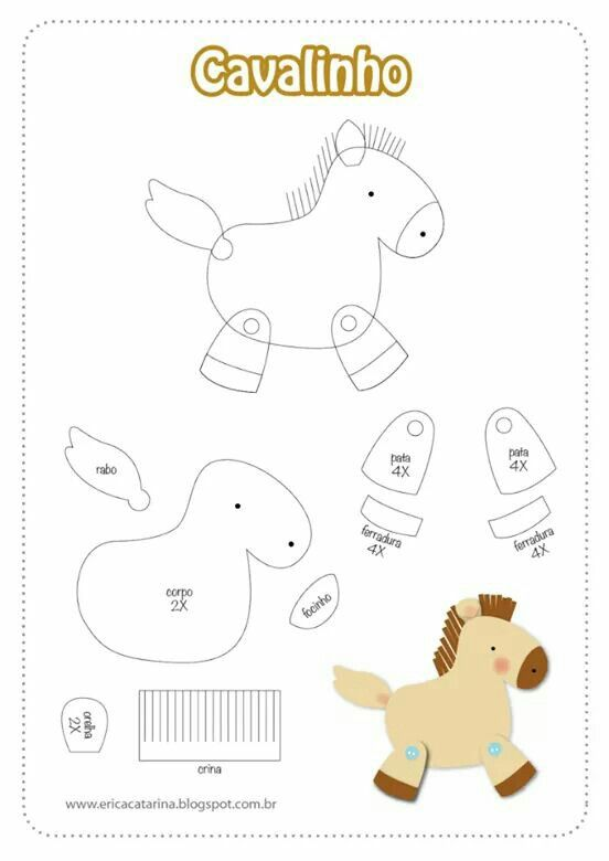 Molde caballo | Adornos de foami | Pinterest | Felt, Felt crafts y ...